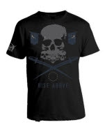 Rise Above Skull And Swords Black T-Shirt