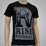 Rise Records Big R Gray On Black T-Shirt