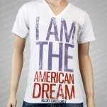 Rocky Loves Emily I Am American Dream V Neck White T-Shirt