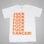Shirts For A Cure Fuck Cancer Stacked Logo Orange on White T-Shirt
