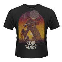 Star Wars Sunset Poster Black T-Shirt
