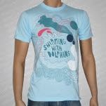 Swimming With Dolphins Waves Light Blue T-Shirt