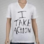 Take Action I Take Action V Neck w Back Print White T-Shirt