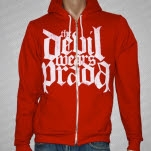 The Devil Wears Prada Logo White on Red Red Hoodie Zip