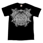 The Human Abstract Death Crest Silver On Black T-Shirt