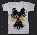 This Or The Apocalypse Hand Trees Gold Foil V Neck Striped T-Shirt