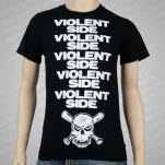Violent Side Stacked Black T-Shirt