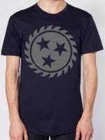 Whitechapel Sawblade Grey on Navy T-Shirt