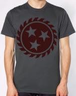 Whitechapel Sawblade Maroon on Charcoal T-Shirt